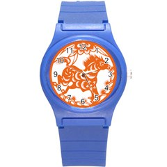Chinese Zodiac Horoscope Horse Zhorse Star Orangeicon Round Plastic Sport Watch (s) by Mariart