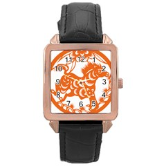 Chinese Zodiac Horoscope Horse Zhorse Star Orangeicon Rose Gold Leather Watch  by Mariart
