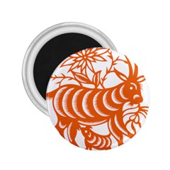 Chinese Zodiac Goat Star Orange 2 25  Magnets by Mariart