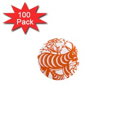 Chinese Zodiac Goat Star Orange 1  Mini Magnets (100 Pack)  by Mariart