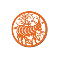 Chinese Zodiac Goat Star Orange Magnet 3  (round) by Mariart