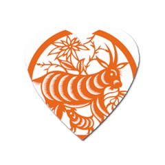 Chinese Zodiac Goat Star Orange Heart Magnet by Mariart