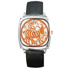 Chinese Zodiac Goat Star Orange Square Metal Watch by Mariart
