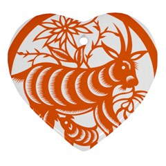 Chinese Zodiac Goat Star Orange Heart Ornament (two Sides) by Mariart