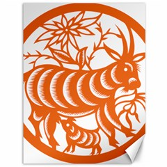 Chinese Zodiac Goat Star Orange Canvas 36  X 48   by Mariart