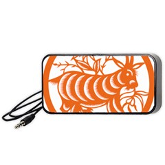 Chinese Zodiac Goat Star Orange Portable Speaker (black) by Mariart