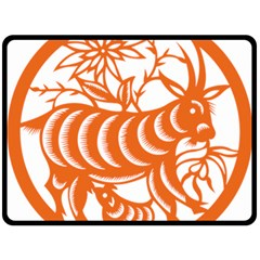 Chinese Zodiac Goat Star Orange Double Sided Fleece Blanket (large)  by Mariart
