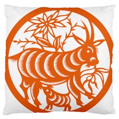 Chinese Zodiac Goat Star Orange Large Flano Cushion Case (two Sides) by Mariart