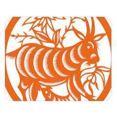 Chinese Zodiac Goat Star Orange Double Sided Flano Blanket (large)  by Mariart