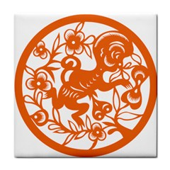 Chinese Zodiac Horoscope Monkey Star Orange Tile Coasters by Mariart