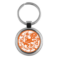Chinese Zodiac Horoscope Monkey Star Orange Key Chains (round)  by Mariart