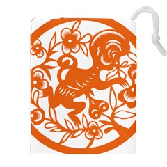 Chinese Zodiac Horoscope Monkey Star Orange Drawstring Pouches (xxl) by Mariart