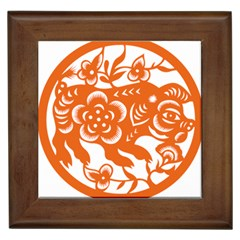 Chinese Zodiac Horoscope Pig Star Orange Framed Tiles