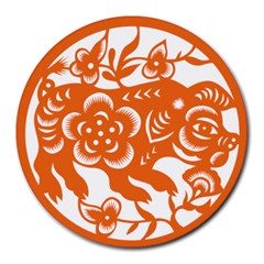 Chinese Zodiac Horoscope Pig Star Orange Round Mousepads by Mariart