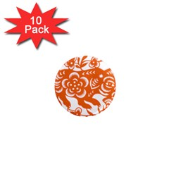 Chinese Zodiac Horoscope Pig Star Orange 1  Mini Magnet (10 Pack)  by Mariart