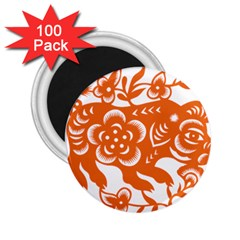 Chinese Zodiac Horoscope Pig Star Orange 2 25  Magnets (100 Pack)  by Mariart