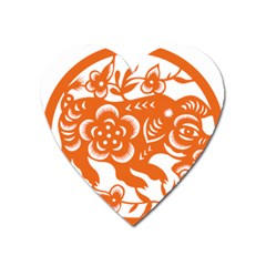 Chinese Zodiac Horoscope Pig Star Orange Heart Magnet by Mariart