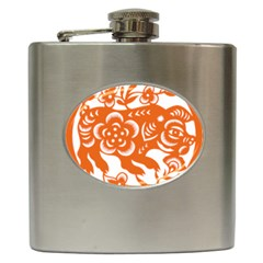 Chinese Zodiac Horoscope Pig Star Orange Hip Flask (6 Oz) by Mariart