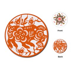 Chinese Zodiac Horoscope Pig Star Orange Playing Cards (round)  by Mariart