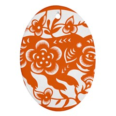 Chinese Zodiac Horoscope Pig Star Orange Oval Ornament (two Sides) by Mariart