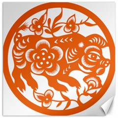 Chinese Zodiac Horoscope Pig Star Orange Canvas 20  X 20   by Mariart