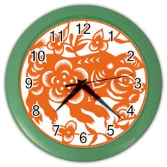 Chinese Zodiac Horoscope Pig Star Orange Color Wall Clocks by Mariart