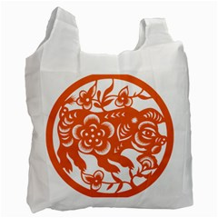 Chinese Zodiac Horoscope Pig Star Orange Recycle Bag (one Side) by Mariart