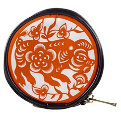 Chinese Zodiac Horoscope Pig Star Orange Mini Makeup Bags by Mariart