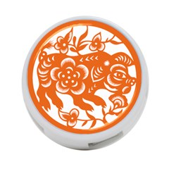 Chinese Zodiac Horoscope Pig Star Orange 4 Port Usb Hub (two Sides)  by Mariart