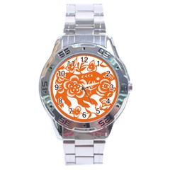 Chinese Zodiac Horoscope Pig Star Orange Stainless Steel Analogue Watch by Mariart