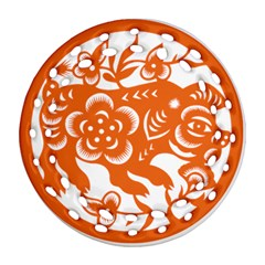 Chinese Zodiac Horoscope Pig Star Orange Round Filigree Ornament (two Sides) by Mariart