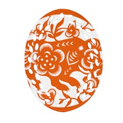Chinese Zodiac Horoscope Pig Star Orange Ornament (oval Filigree) by Mariart