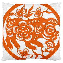 Chinese Zodiac Horoscope Pig Star Orange Large Cushion Case (one Side) by Mariart