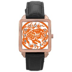 Chinese Zodiac Horoscope Pig Star Orange Rose Gold Leather Watch  by Mariart