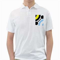 Circle Line Chevron Wave Black Blue Yellow Gray White Golf Shirts by Mariart