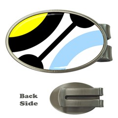 Circle Line Chevron Wave Black Blue Yellow Gray White Money Clips (oval)  by Mariart