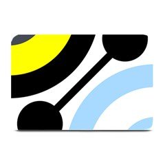 Circle Line Chevron Wave Black Blue Yellow Gray White Plate Mats by Mariart
