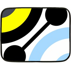 Circle Line Chevron Wave Black Blue Yellow Gray White Fleece Blanket (mini) by Mariart
