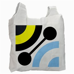 Circle Line Chevron Wave Black Blue Yellow Gray White Recycle Bag (one Side) by Mariart