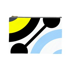 Circle Line Chevron Wave Black Blue Yellow Gray White Cosmetic Bag (large)  by Mariart