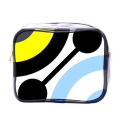 Circle Line Chevron Wave Black Blue Yellow Gray White Mini Toiletries Bags by Mariart