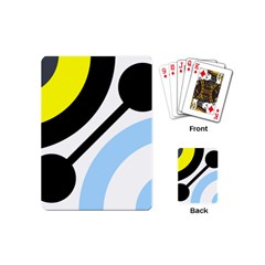 Circle Line Chevron Wave Black Blue Yellow Gray White Playing Cards (mini)  by Mariart