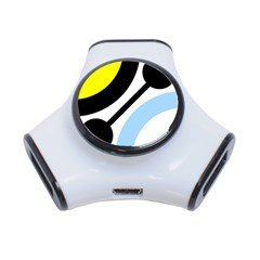 Circle Line Chevron Wave Black Blue Yellow Gray White 3 Port Usb Hub by Mariart