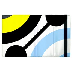 Circle Line Chevron Wave Black Blue Yellow Gray White Apple Ipad 2 Flip Case by Mariart