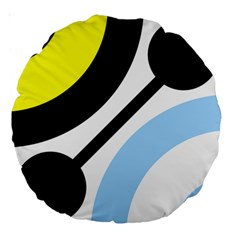 Circle Line Chevron Wave Black Blue Yellow Gray White Large 18  Premium Round Cushions by Mariart
