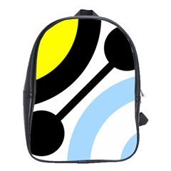Circle Line Chevron Wave Black Blue Yellow Gray White School Bags (xl)  by Mariart