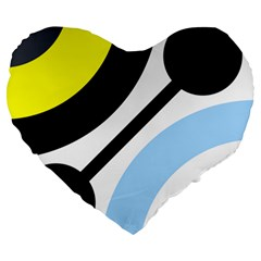 Circle Line Chevron Wave Black Blue Yellow Gray White Large 19  Premium Heart Shape Cushions by Mariart