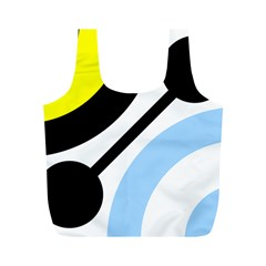 Circle Line Chevron Wave Black Blue Yellow Gray White Full Print Recycle Bags (m)  by Mariart