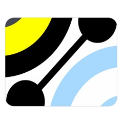 Circle Line Chevron Wave Black Blue Yellow Gray White Double Sided Flano Blanket (large)  by Mariart