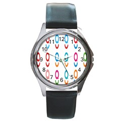 Circle Polka Bubbles Red Blue Green Blur Pink Orange Round Metal Watch by Mariart